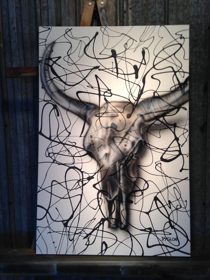 Peinture de crane de bison sur toile à vendre | Yan Pigeon artiste et peintre québécois