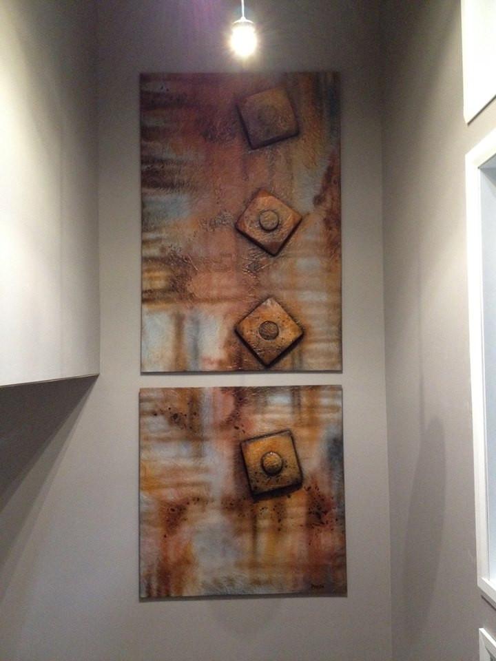 Peinture rouille décorative sur toile | Yan Pigeon artiste et peintre québécois
