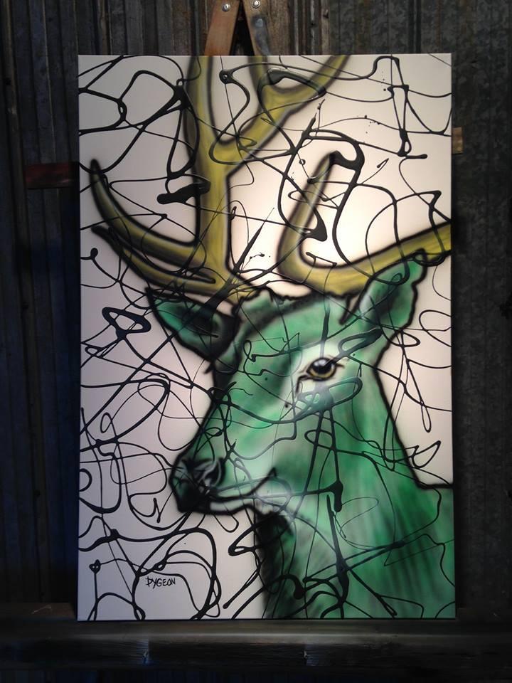 Cerf vert, Peinture simple sur toile par Yan Pigeon