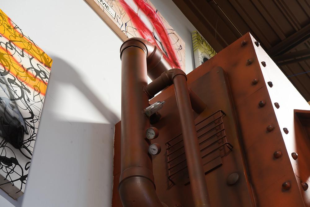 Décor de métal - Faux fini de mur en métal et effet rouille | Peinture au airbrush à Québec 5