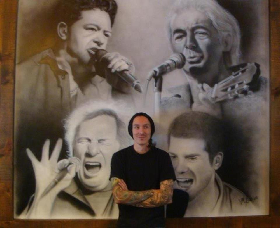 Artiste et peintre actuel à Québec | Yan Pigeon | Portraits au airbrush en noir et blanc