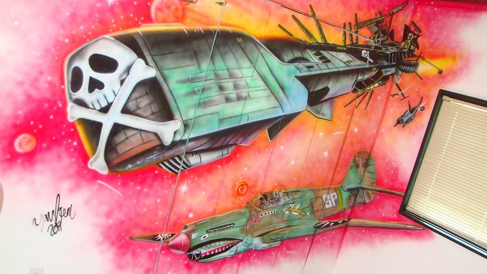 Albator peinturé au airbrush | Image murale de Yan Pigeon artiste et peintre québécois