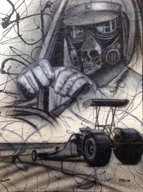 Drag racer peinture en noir et blanc | Yan Pigeon artiste et peintre Canadien à Québec
