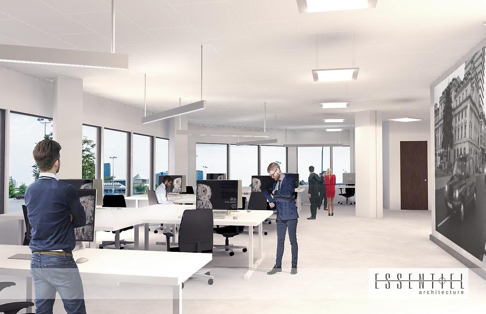 Conception intérieure 3D d'un bureau | Essentiel Architecture | Québec