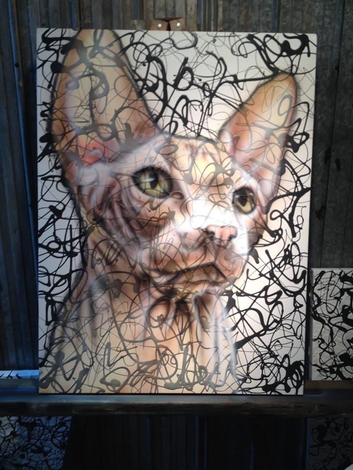 Peinture de chat sphynx sur toile pour salle de bain | Yan Pigeon artiste et peintre airbrush