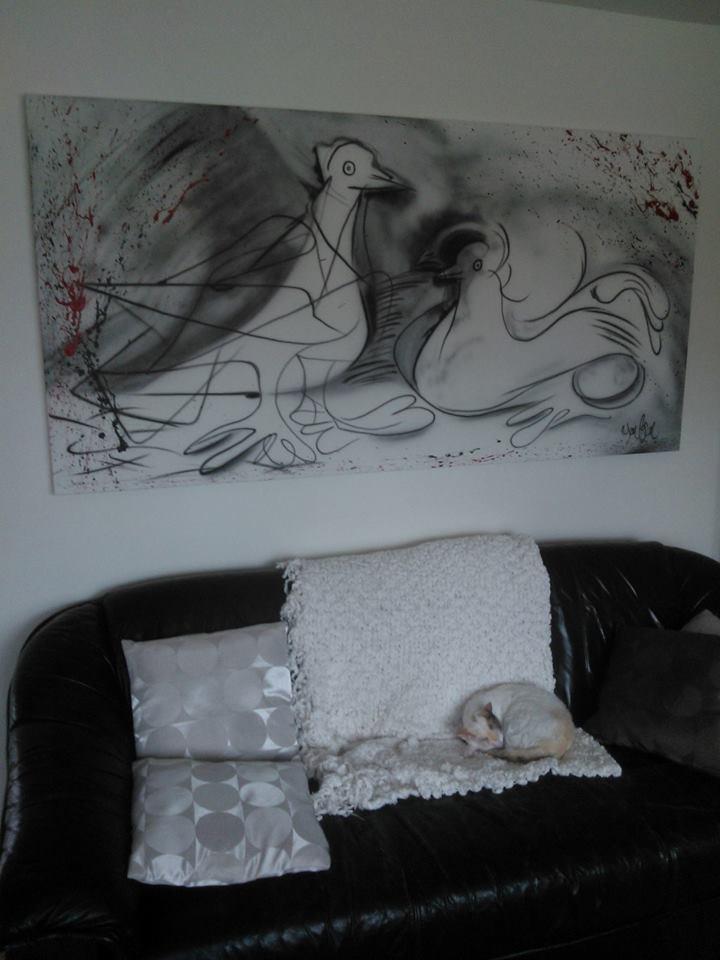Décoration murale   Tableau de pigeon à Québec   Yan Pigeon artiste et peintre airbrush