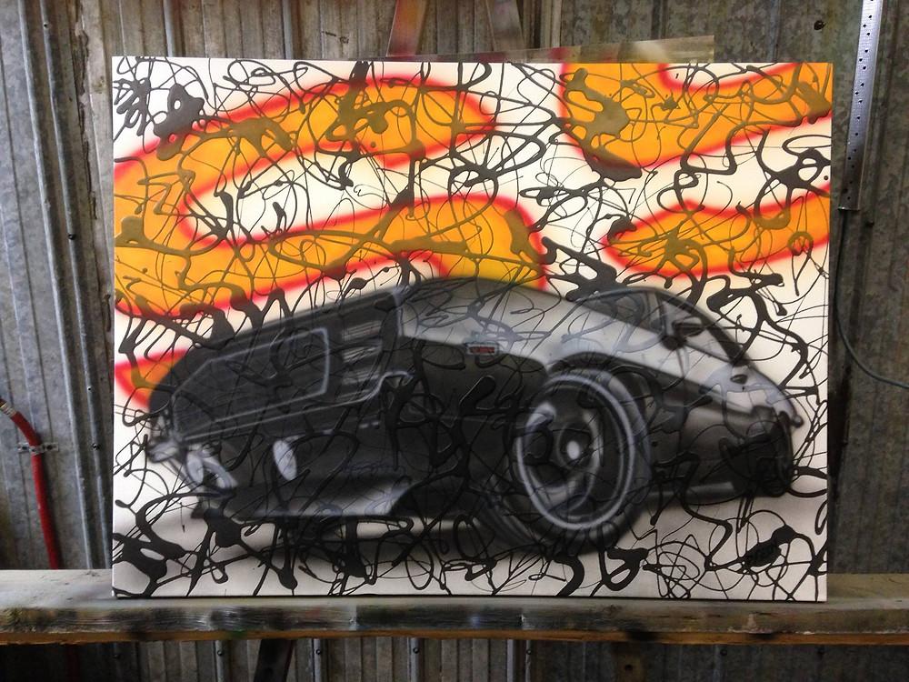 Style abstrait de peinture sur toile | Automobile SS | Yan Pigeon