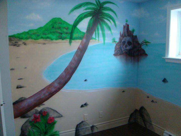 Décoration murale de trésor pirate | Mur intérieur peint par Yan Pigeon 2