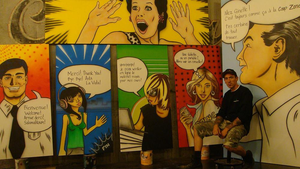 Peinture murale pop art et comic moderne   Yan Pigeon