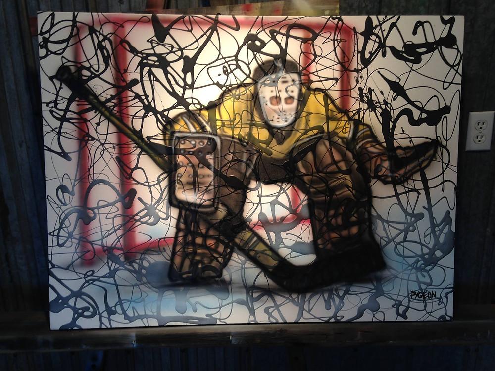 Peinture de gardien de but fait a la main sur toile | Yan Pigeon