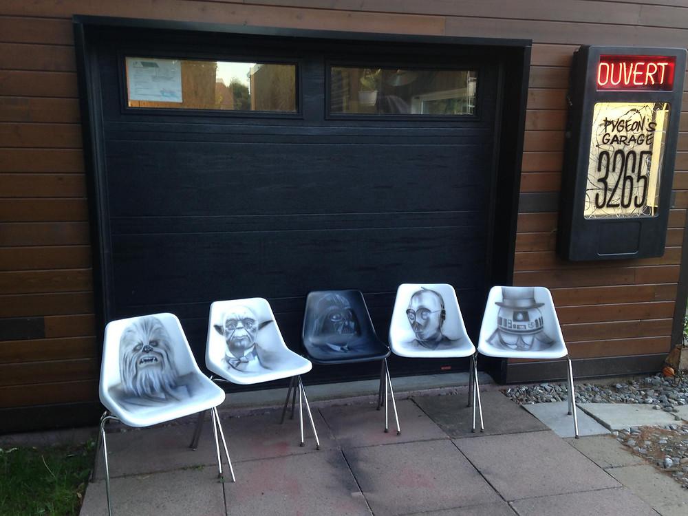 Star Wars au airbrush et acrylique sur chaises | Yan Pigeon peintre et artiste Québécois 3