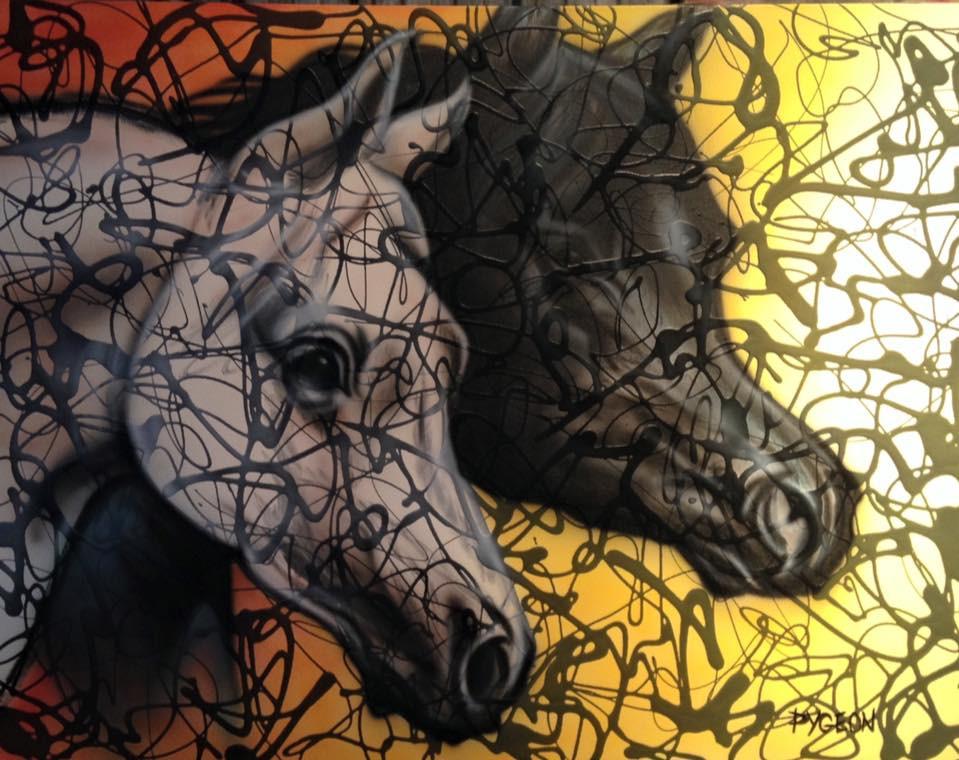 Chevaus abstrait peinture sur toile moderne | Yan Pigeon