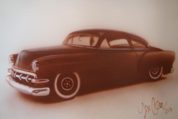 Peinture d'auto au airbrush | Exemple de peinture acrylique sur toile | Yan Pigeon artiste et peintre à Québec