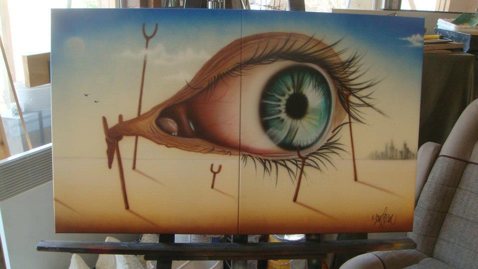 Oeil dans le désert | Modèle de peinture sur toile | Yan Pigeon