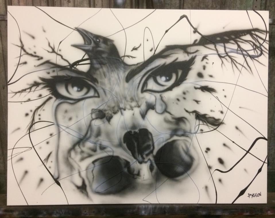 Tableau pour décoration murale | Yeux, corbeau et crâne abstrait | Yan Pigeon