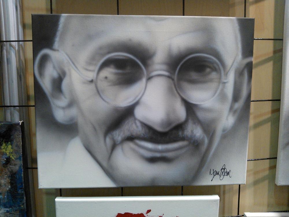 Ghandi | Image de peinture sur toile | Peinture au airbrush | Yan Pigeon