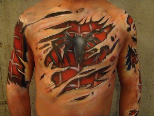 Peintre Artiste | Bodypainting spiderman | Yan Pigeon 2