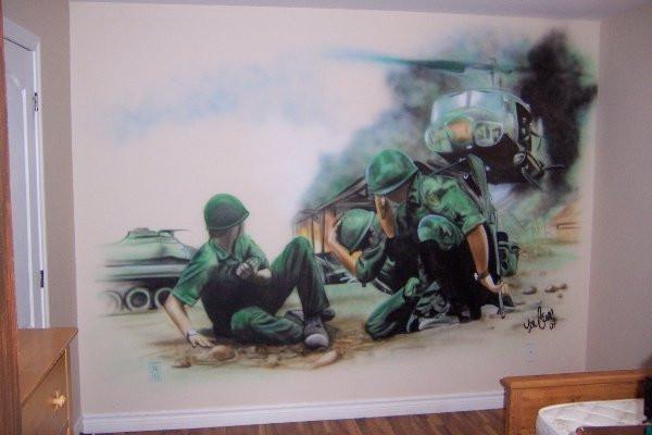 Guerre | Style de peinture airbrush sur toile | Yan Pigeon artiste et peintre à Québec