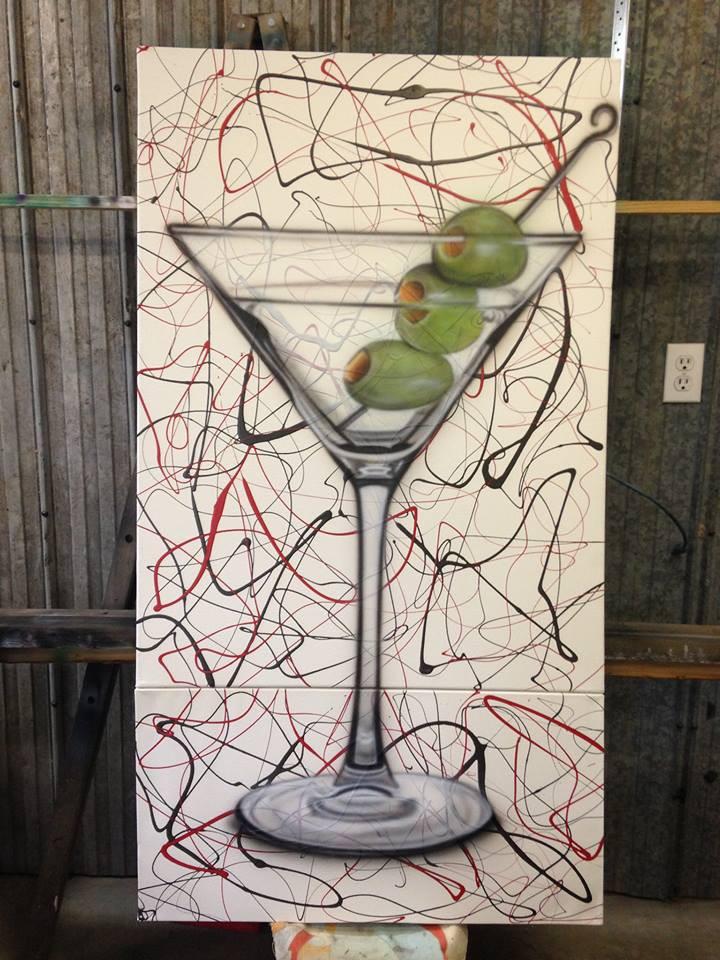 Peinture verre de martini sur une toile verticale | Yan Pigeon artiste et peintre Québec
