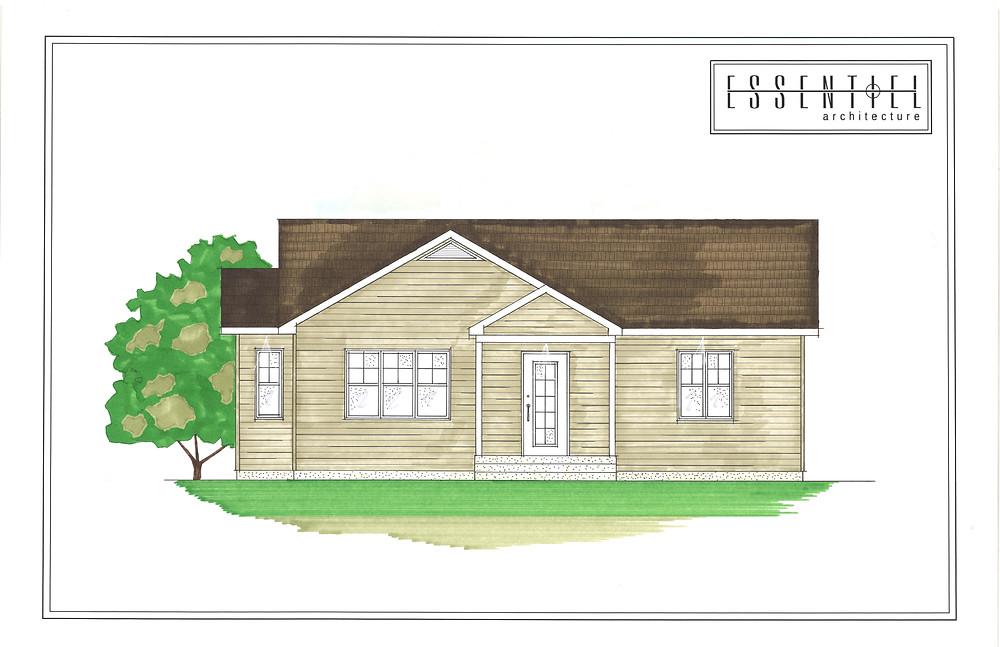 Coloration de plan d'un bungalow traditionnel | Essentiel Architecture | Québec