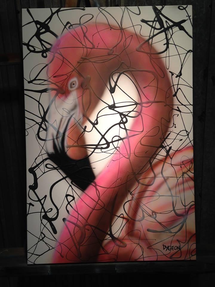 Flamant rose | Exemple de peinture en acrylique sur toile | Yan Pigeon