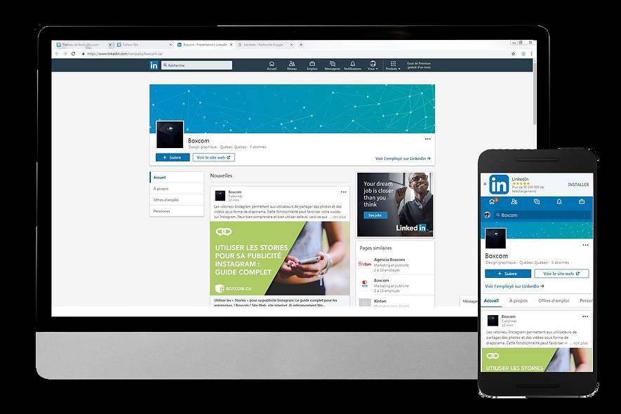 Exemple e page LinkedIn par Boxcom, agence réseaux sociaux à Québec