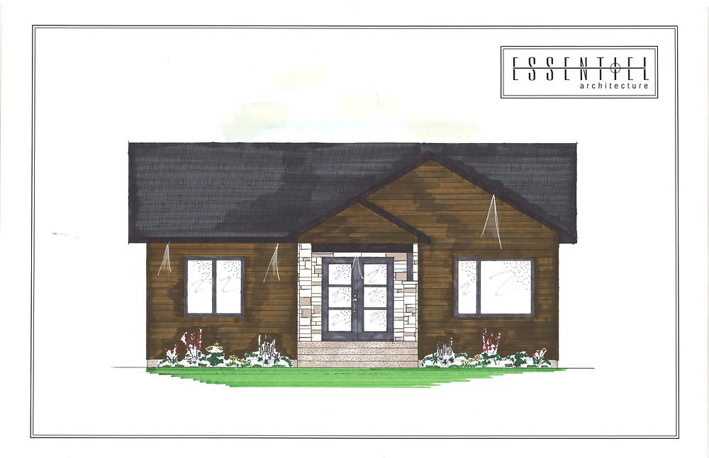 Coloration de plan de petite maison plain-pied | Essentiel Architecture | Québec