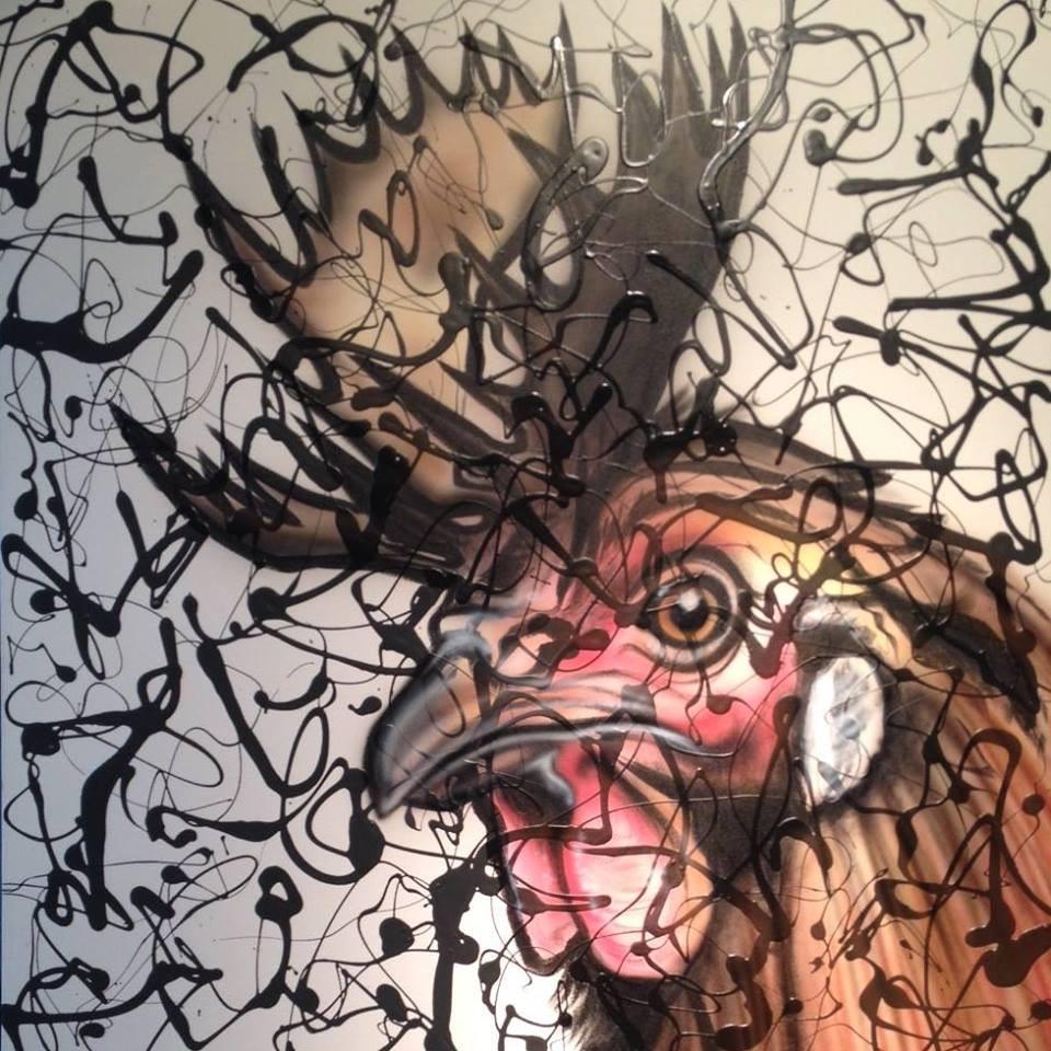 Peinture en acrylique sur une toile | Yan Pigeon | Coq abstrait moderne