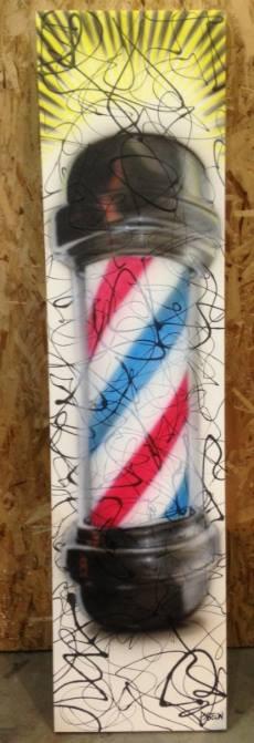 Peinture sur toile verticale | Signe de barbier au airbrush | Yan Pigeon peintre à Québec