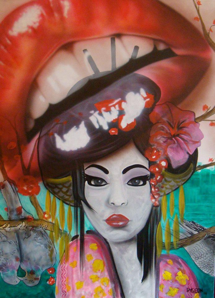 Peinture originale levres et coiffe asiatique sur toile par Yan Pigeon