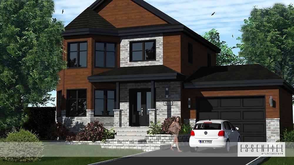 Conception 3D d'un modèle de maison à étages | Essentiel Architecture | Québec
