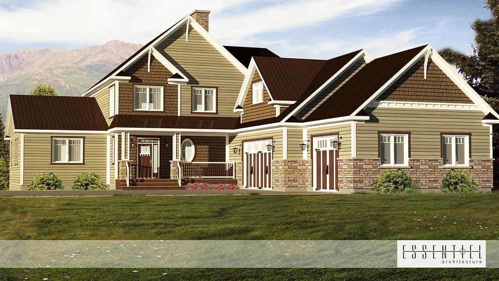 Conception 3D de plan de maison en L pour construction | Essentiel Architecture | Québec