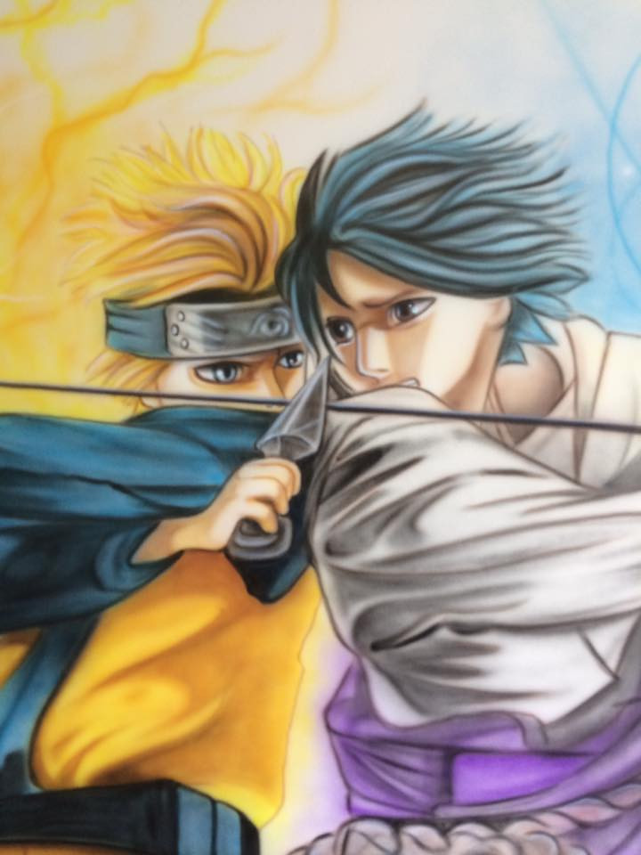Naruto peinturé au airbrush sur une murale | Grafiti par Yan Pigeon artiste et peintre à Québec