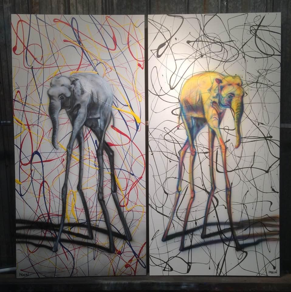 Éléphant peinturé sur toiles grand format   Yan Pigeon