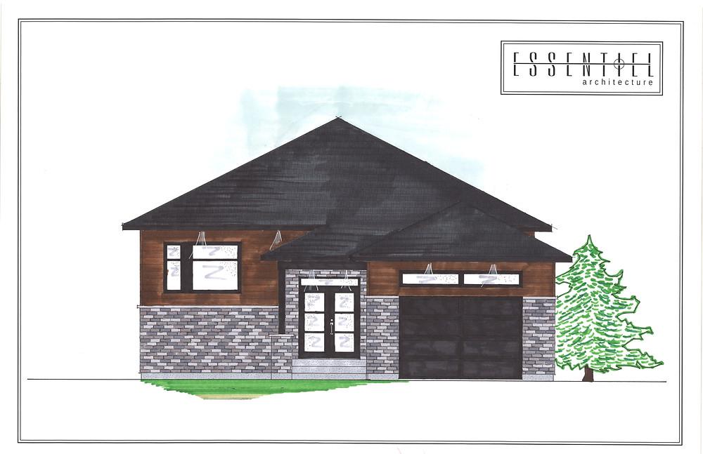 Coloration de plan de maison neuve | Essentiel Architecture | Québec