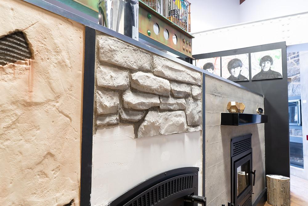 Fini de mur en pierre blanche | Décoration intérieur au airbrush | Yan Pigeon artiste et peintre Québec 2