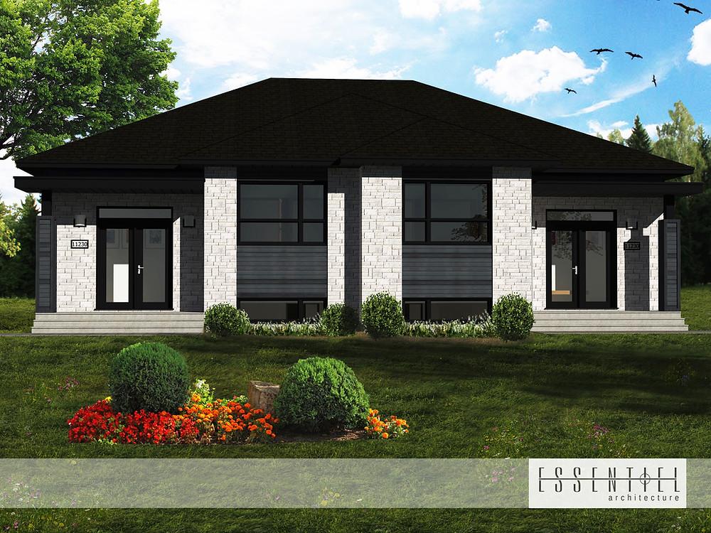 Conception 3D de jumelé moderne pour construction | Essentiel Architecture | Québec