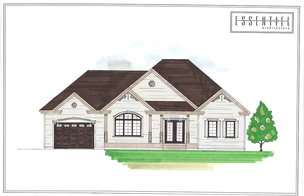 Modèle de coloration de plan de maison | Essentiel Architecture | Québec