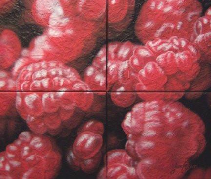 Peinture framboises au airbrush sur tableau en toile | Yan Pigeon peintre et artiste québécois