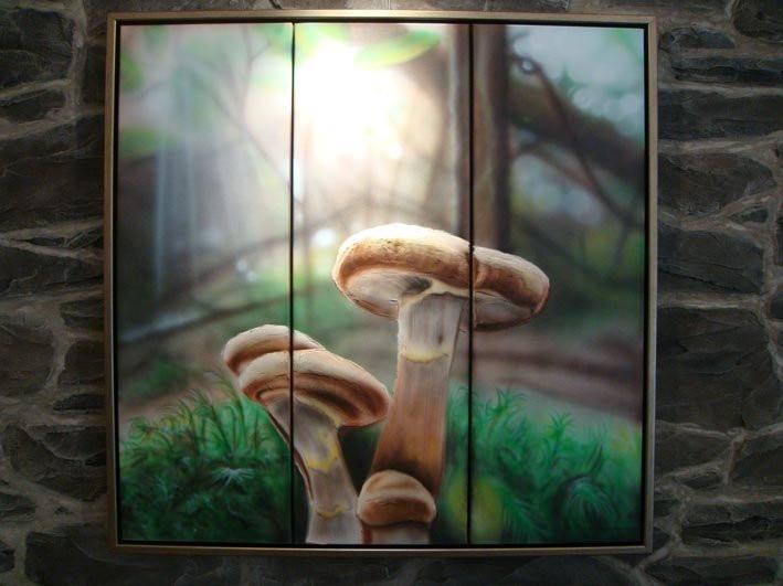 Peinture de champignon sur toile a vendre | Yan Pigeon peintre et artiste