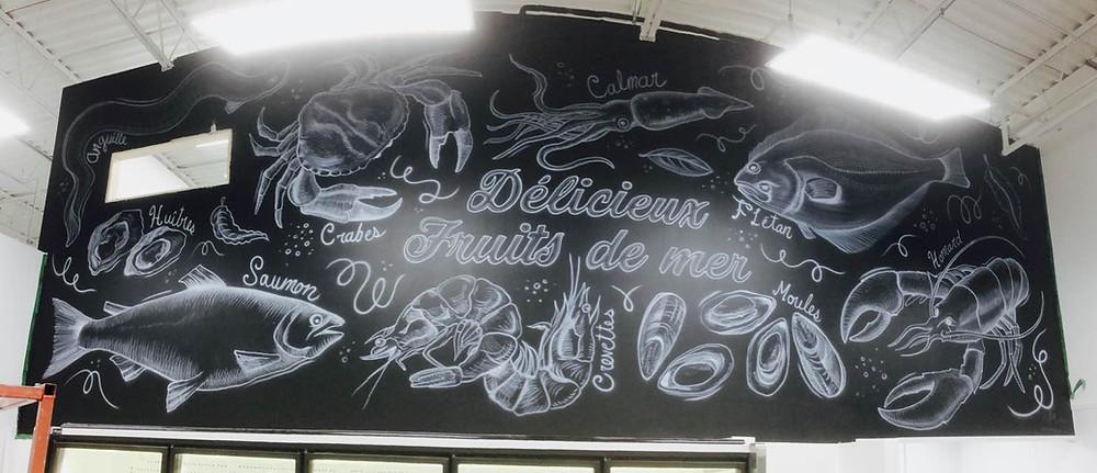 Décoration murale moderne | Fruits de mer et poissons | Yan Pigeon