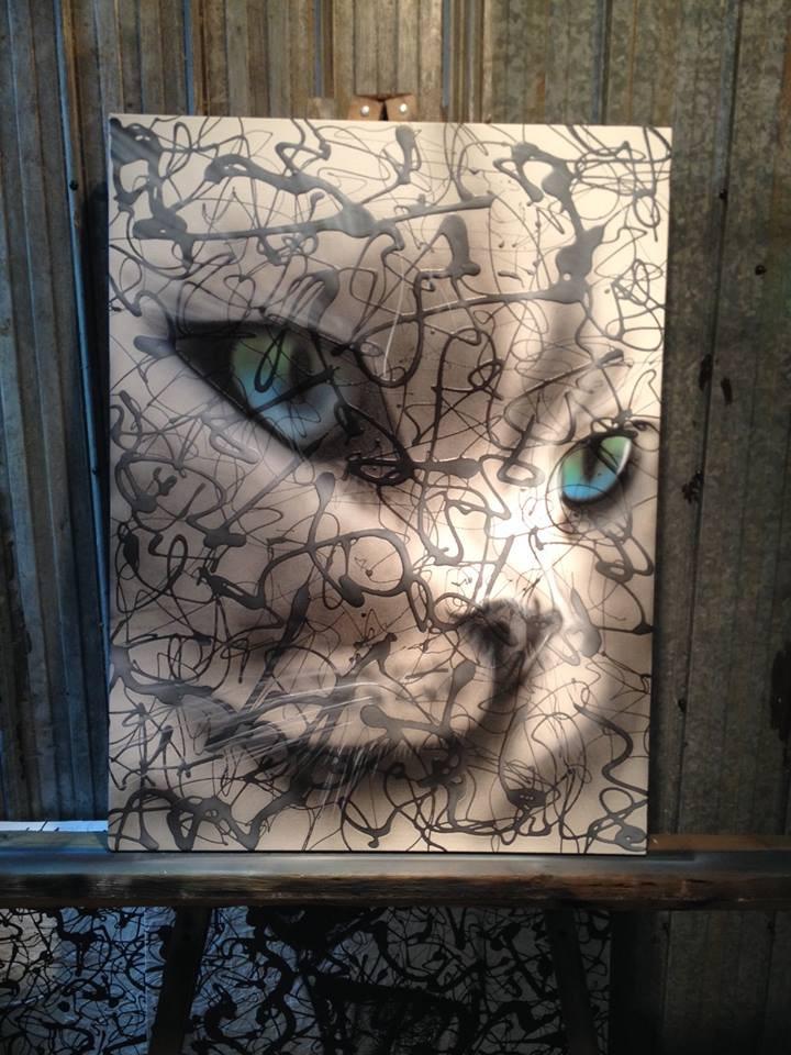 Peinture abstrait de chat design sur toile | Yan Pigeon