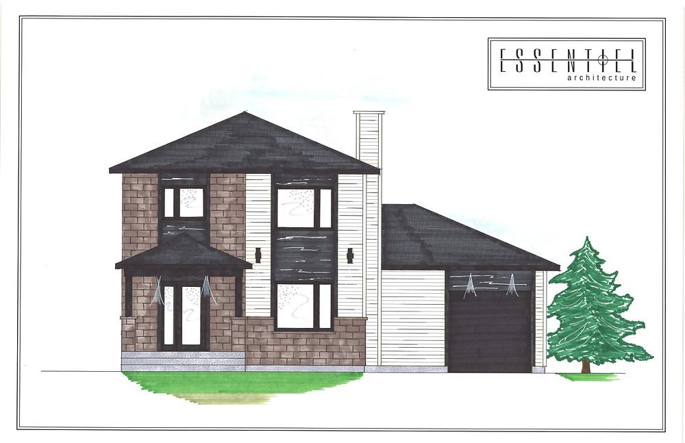 Coloration de plan de maison 2 étages | Essentiel Architecture | Québec
