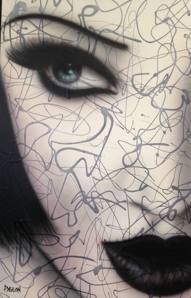 Visage de femme peinture sur grande toile | Yan Pigeon artiste et peintre