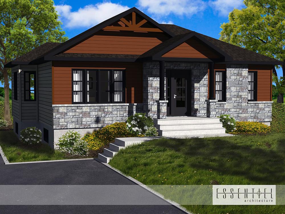 Conception 3D de plan de maison style bungalow | Essentiel Architecture | Québec