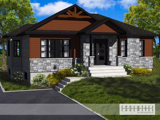 Conception 3D d'un plan de maison plain-pied