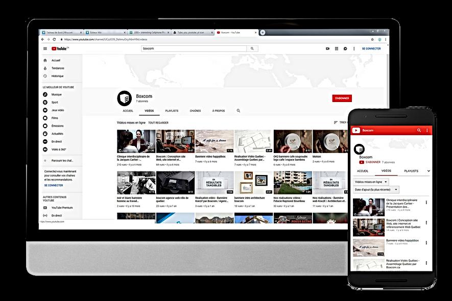 Exemple de page Youtube par Boxcom, gestionnaire de médias sociaux à Québec