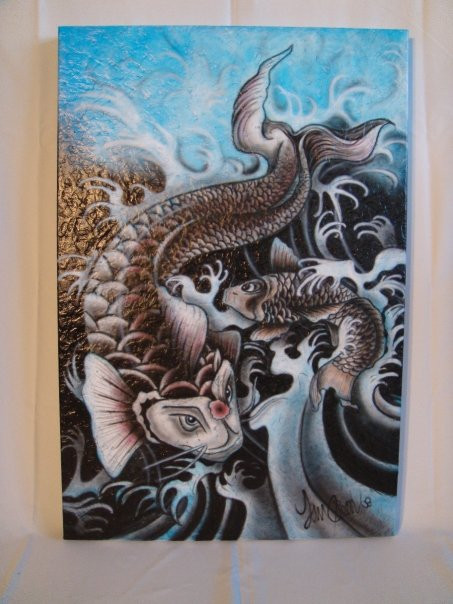 Peinture de poissons koi sur toile en acrylique   Yan Pigeon