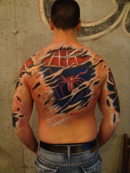 Peintre Artiste | Bodypainting spiderman | Yan Pigeon