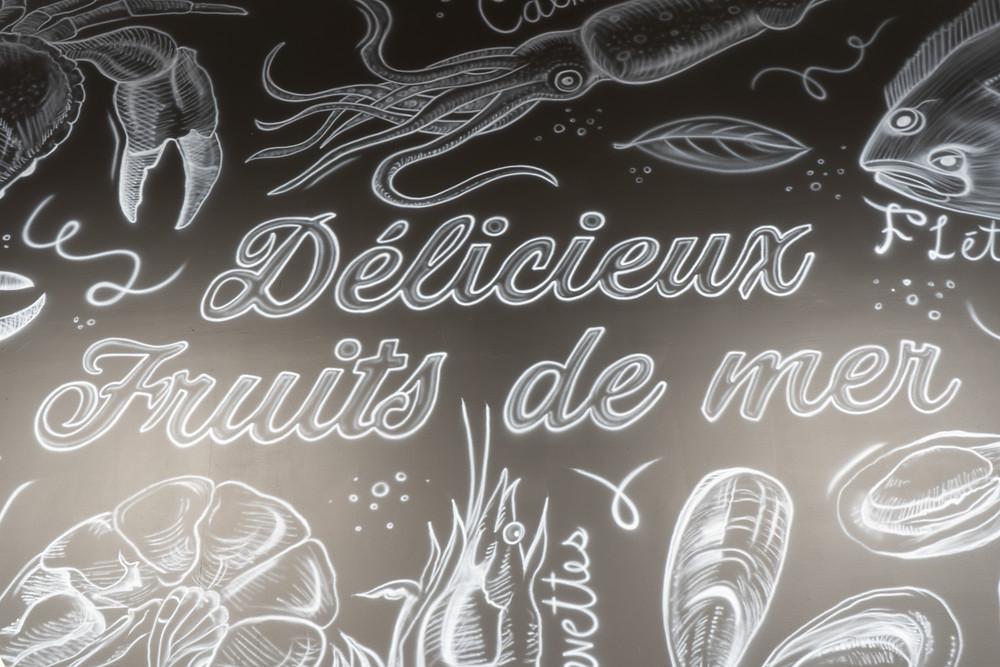 Peinture noir et blanc fruits de mer | Murale pour cuisine et décoration | Peinture murale à Québec 2